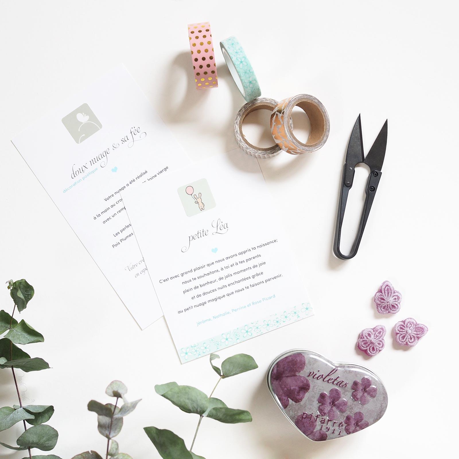 personnalisation cadeau naissance suspension ange nuage violettes laboutiquedemelimelo