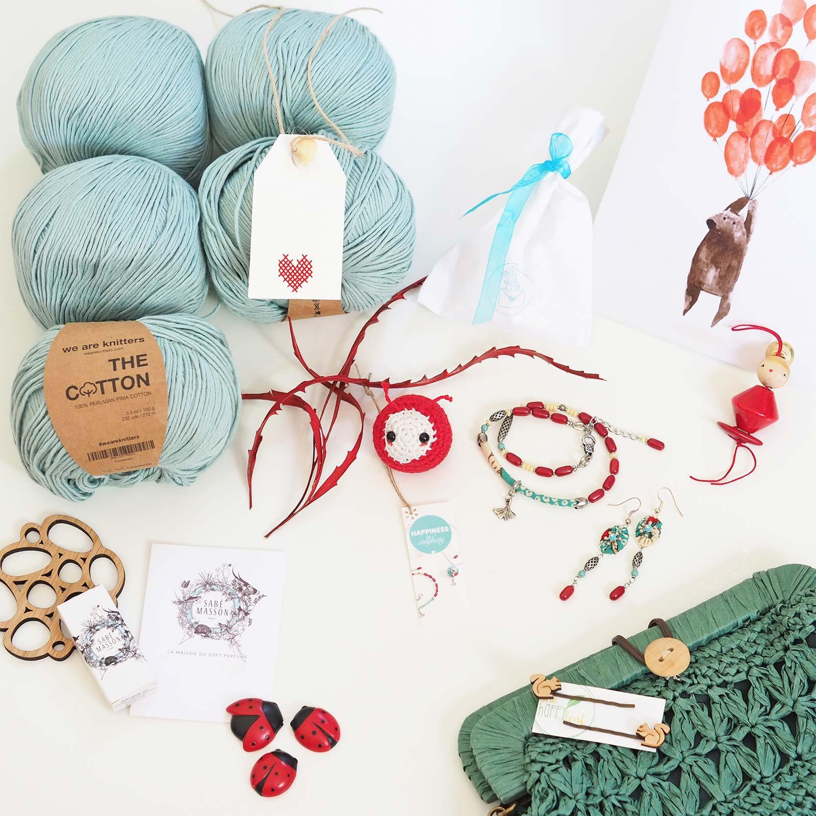 trésors créations pima cotton aquamarine we are knitters bijoux rouge laboutiquedemelimelo
