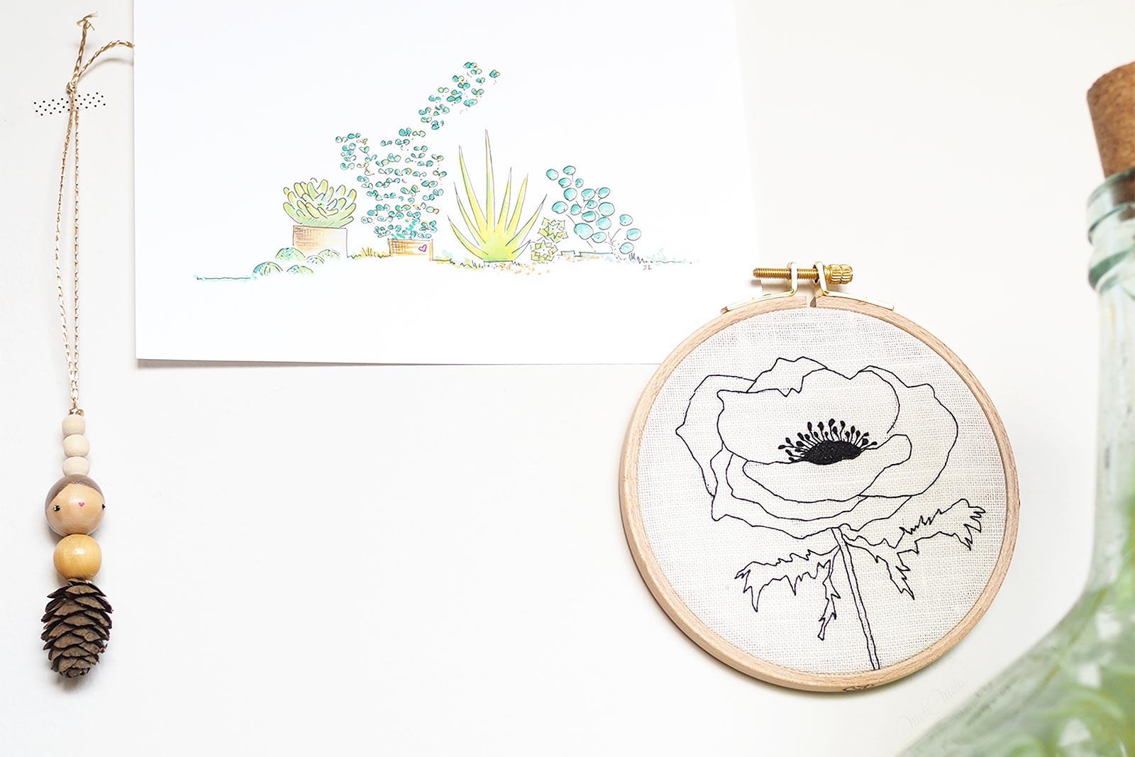 petits trésors puce les pois plumes illustration plantes broderie coquelicot laboutiquedemelimelo