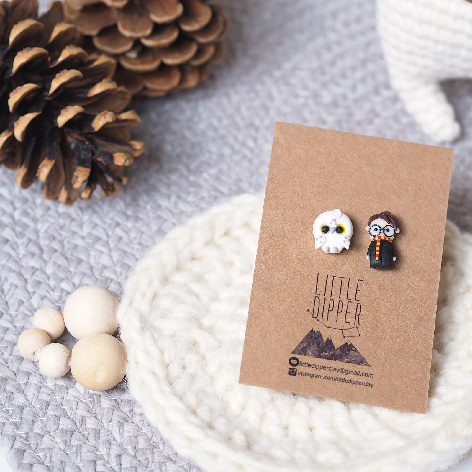 pins Harry Potter Hedwig Little Dipper Clay snowy owl Little Dipper clay laboutiquedemelimelo