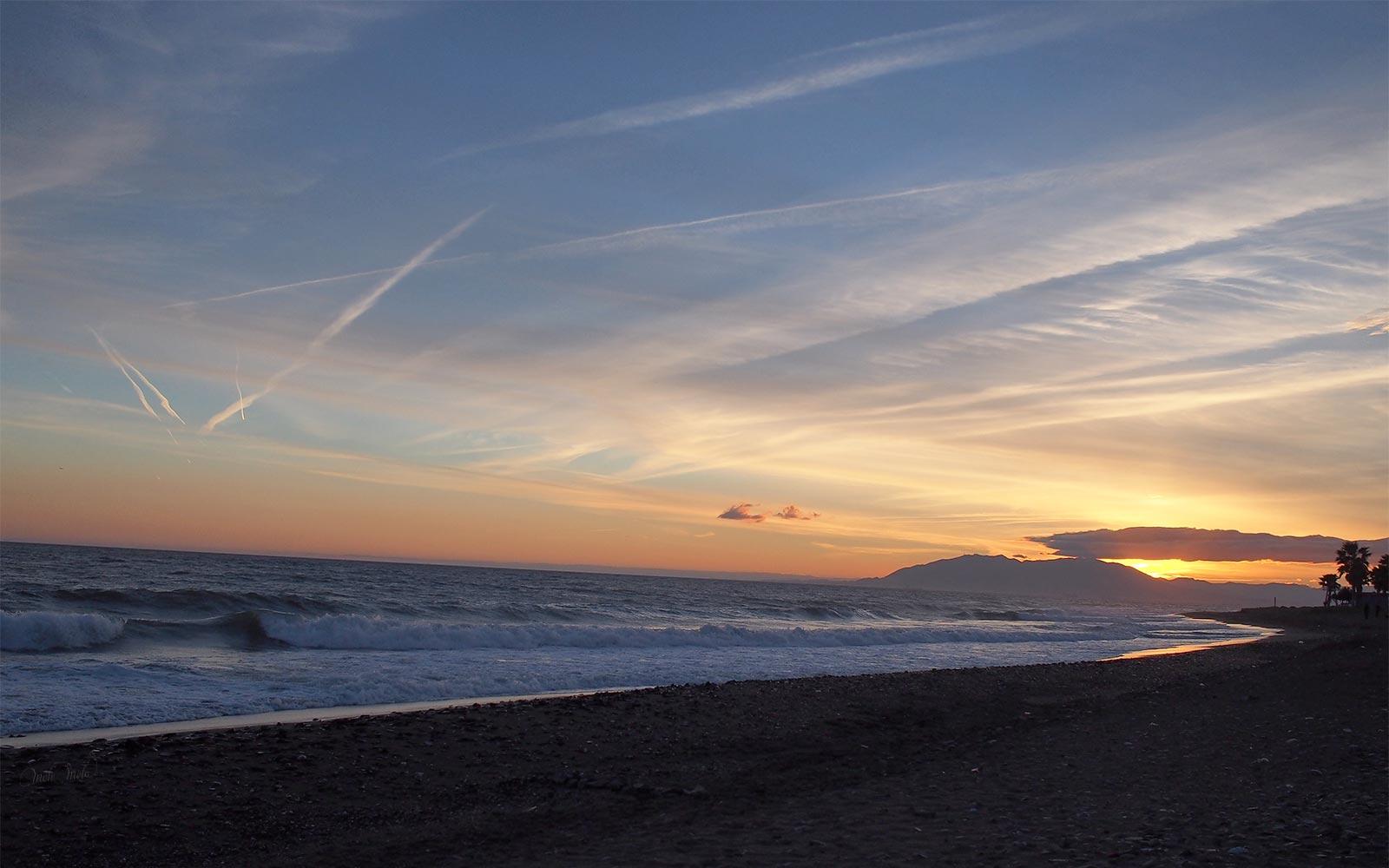 playa Salobreña costa puesta de sol Andalucia Andalousie
