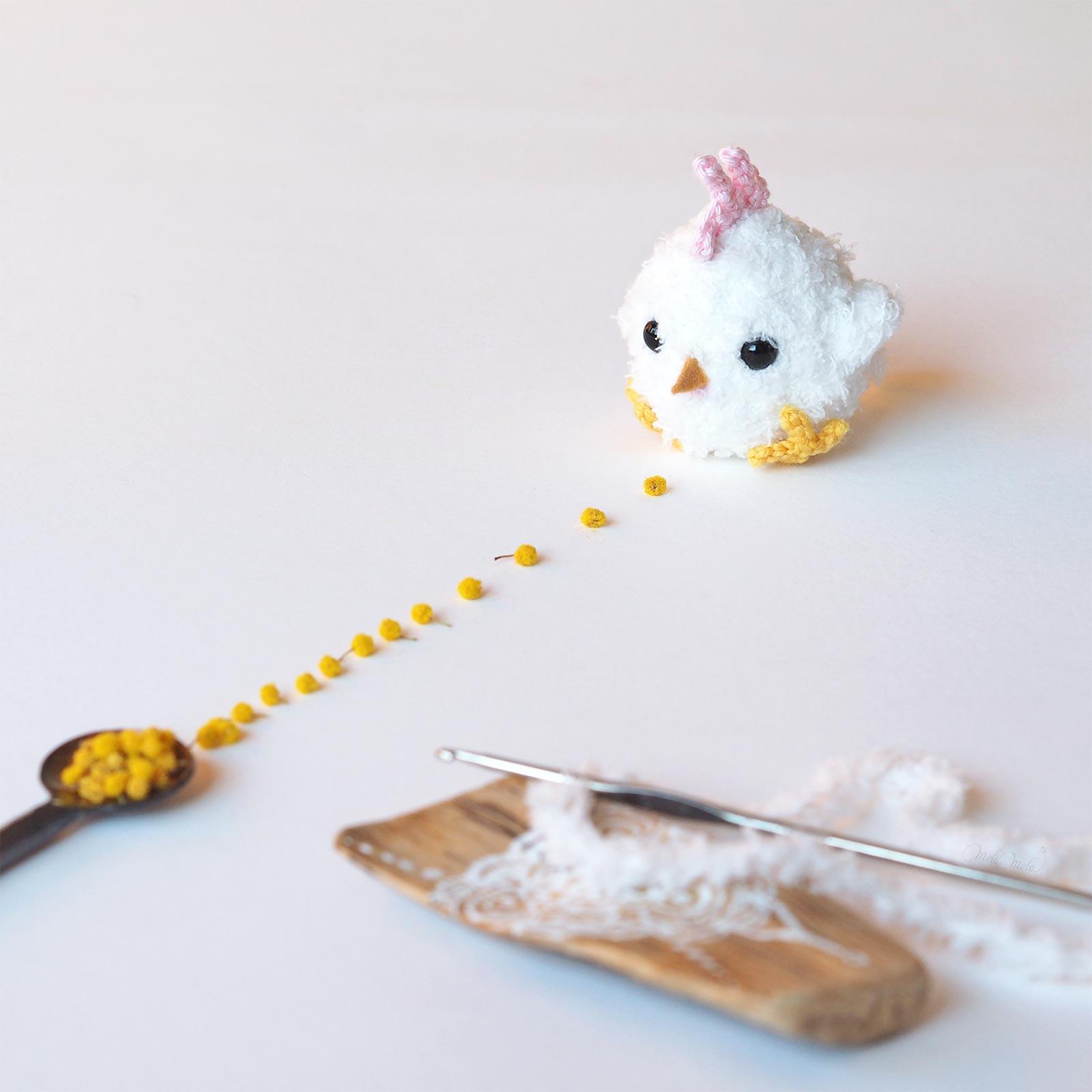 poussin rondouillet crochet mimosa pâques laboutiquedemelimelo