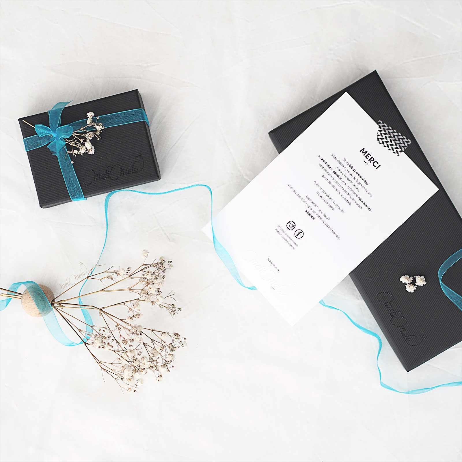 écrins présentation bijoux bleu turquoise laboutiquedemelimelo