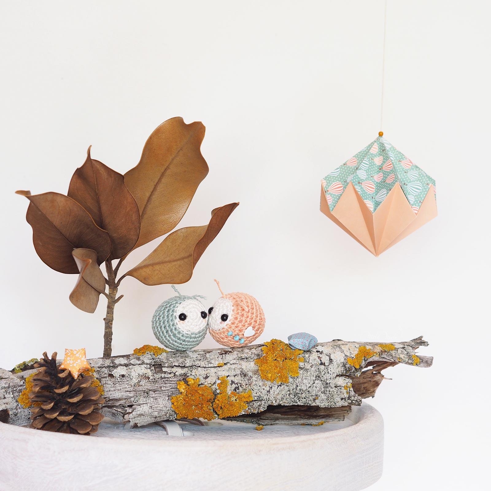 pucerons crochet amulette de poche diamant origami laboutiquedemelimelo