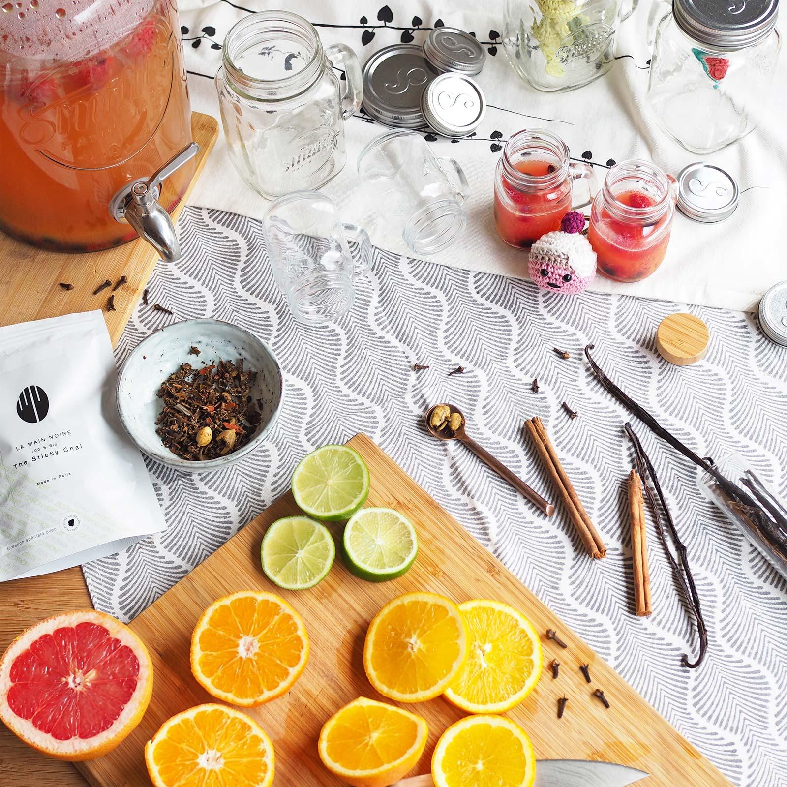 recette boisson agrumes sticky chaï original la main noire Paris laboutiquedemelimelo