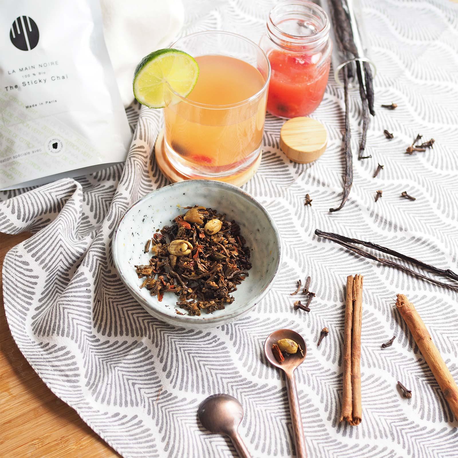 recette boisson agrumes sticky chaï original la main noire Paris gingembre cannelle vanille Madagascar laboutiquedemelimelo