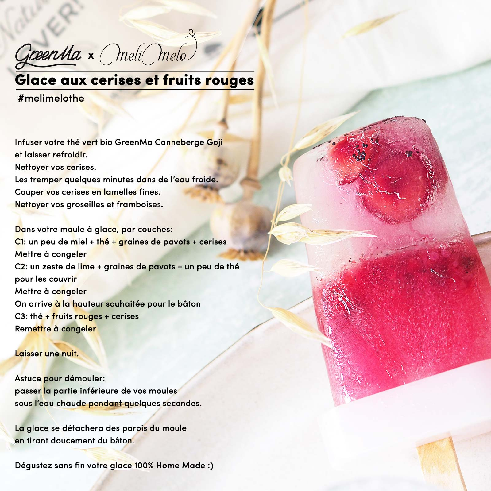 recette-glace-cerises-fruits-rouges-the-vert-bio-canneberge-goji-greenma-france-laboutiquedemelimelo