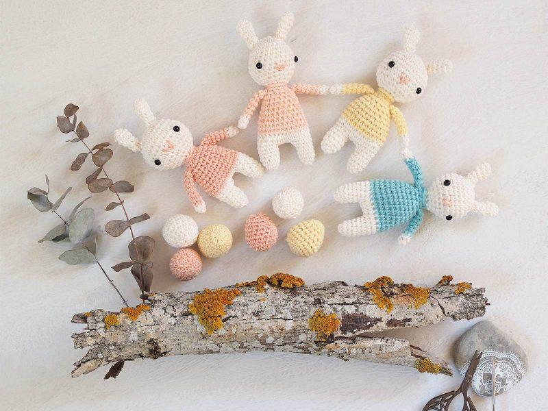 ribambelle mini lapins oeufs crochet printemps Pâques laboutiquedemelimelo