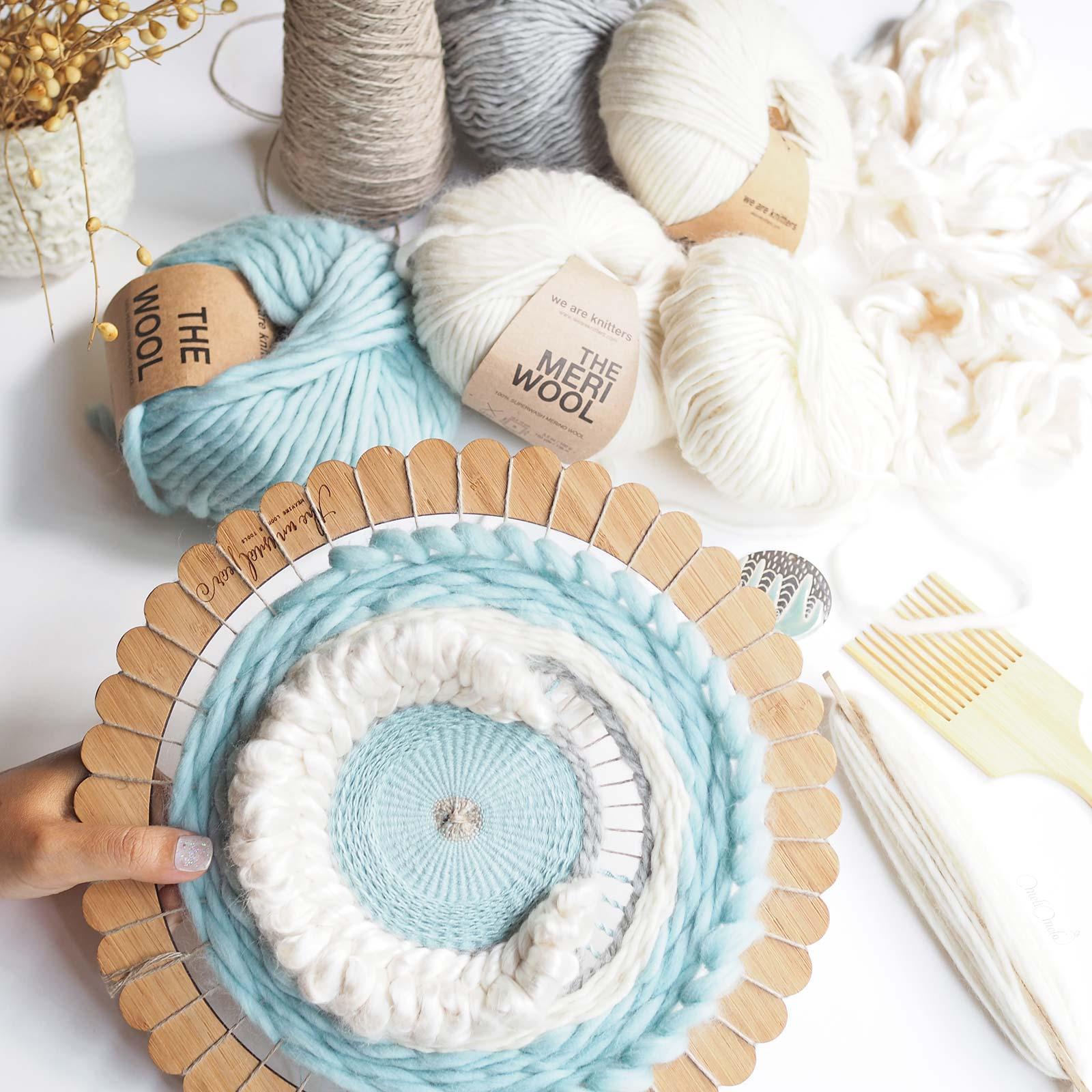Roundweaving tissage circulaire Lune soie laine encours laboutiquedemelimelo