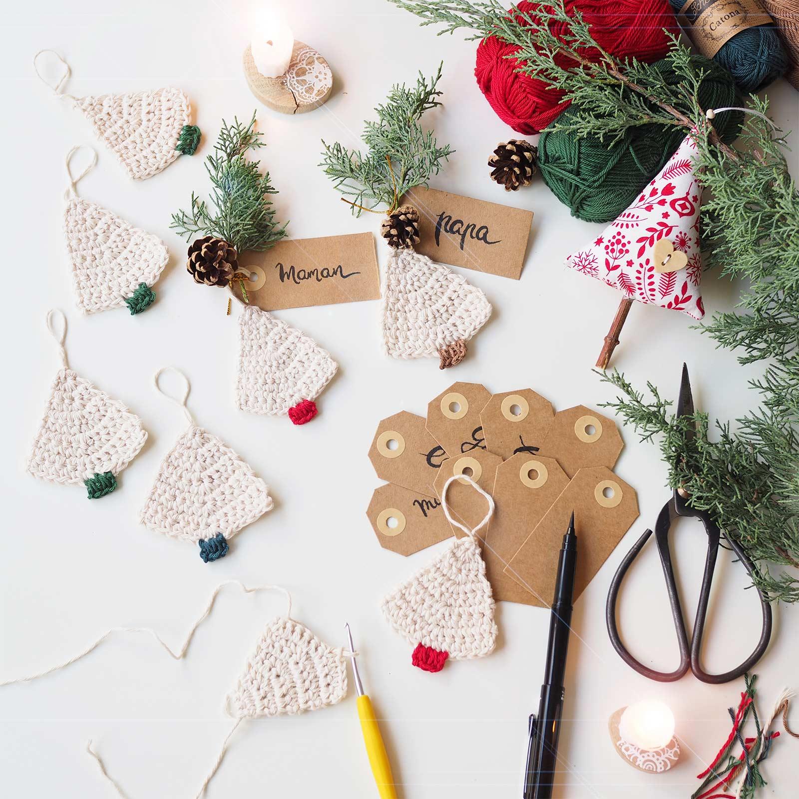 sapin noel crochet christmas tree garland boutique melimelo