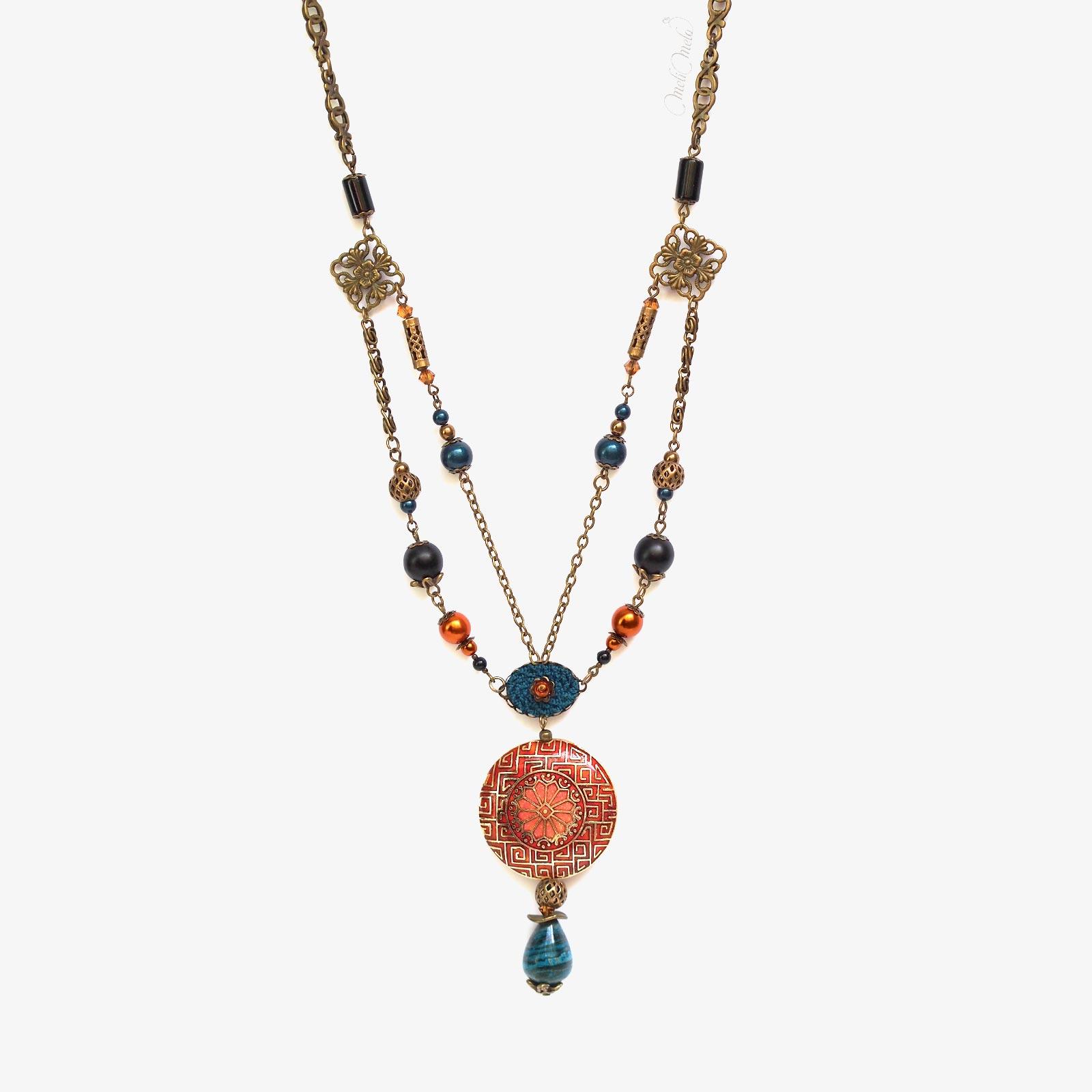 sautoir Cloisonné Jaspe Onyx gemmes cristal Swarovski laboutiquedemelimelo