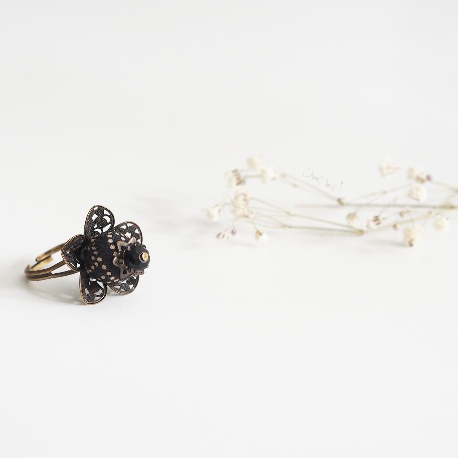 bague Calice Seikaiha black fleur tissu japonais laboutiquedemelimelo