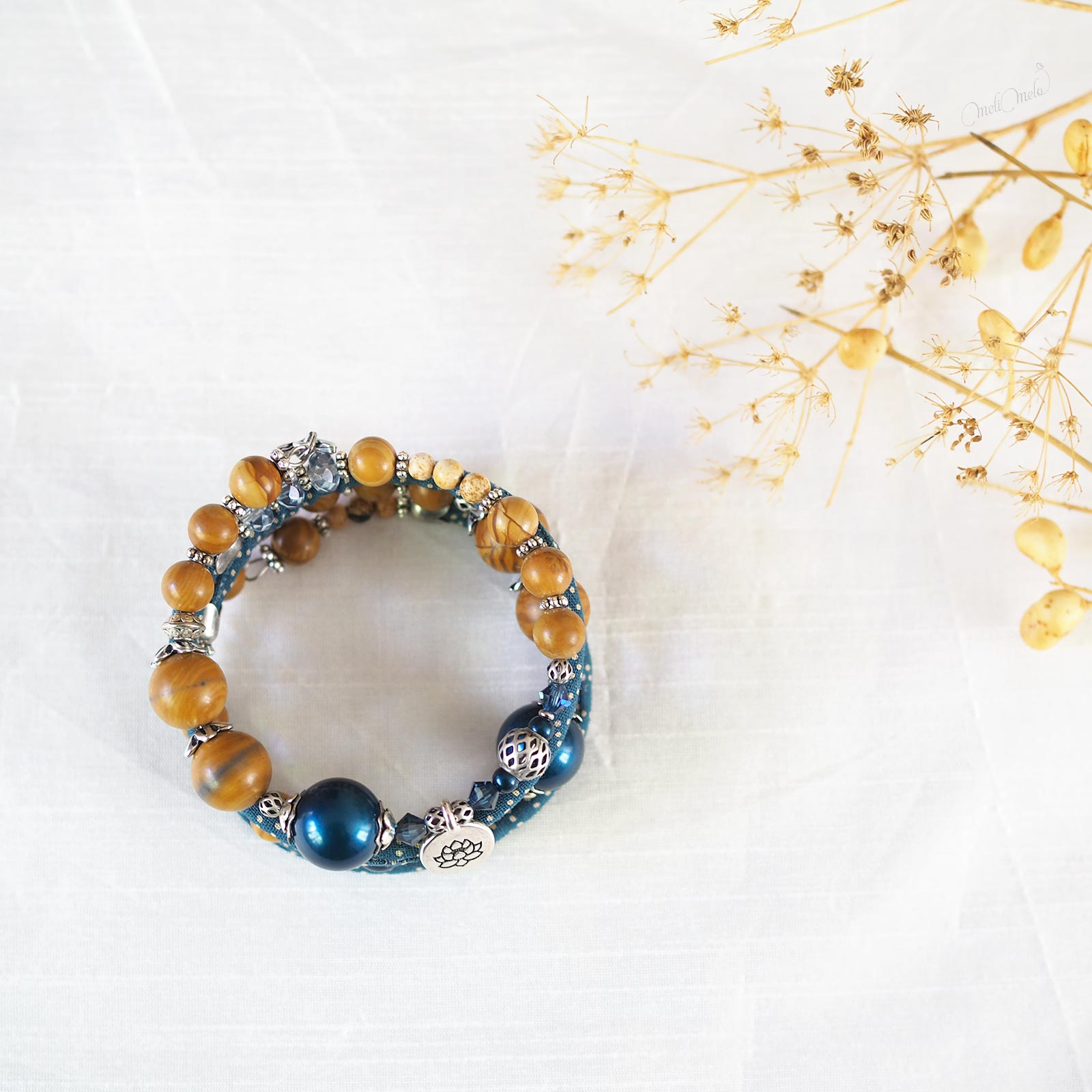 Bracelet Seikaiha Blue gemmes Jaspe perles nacrées fleur lotus Collection Japon laboutiquedemelimelo
