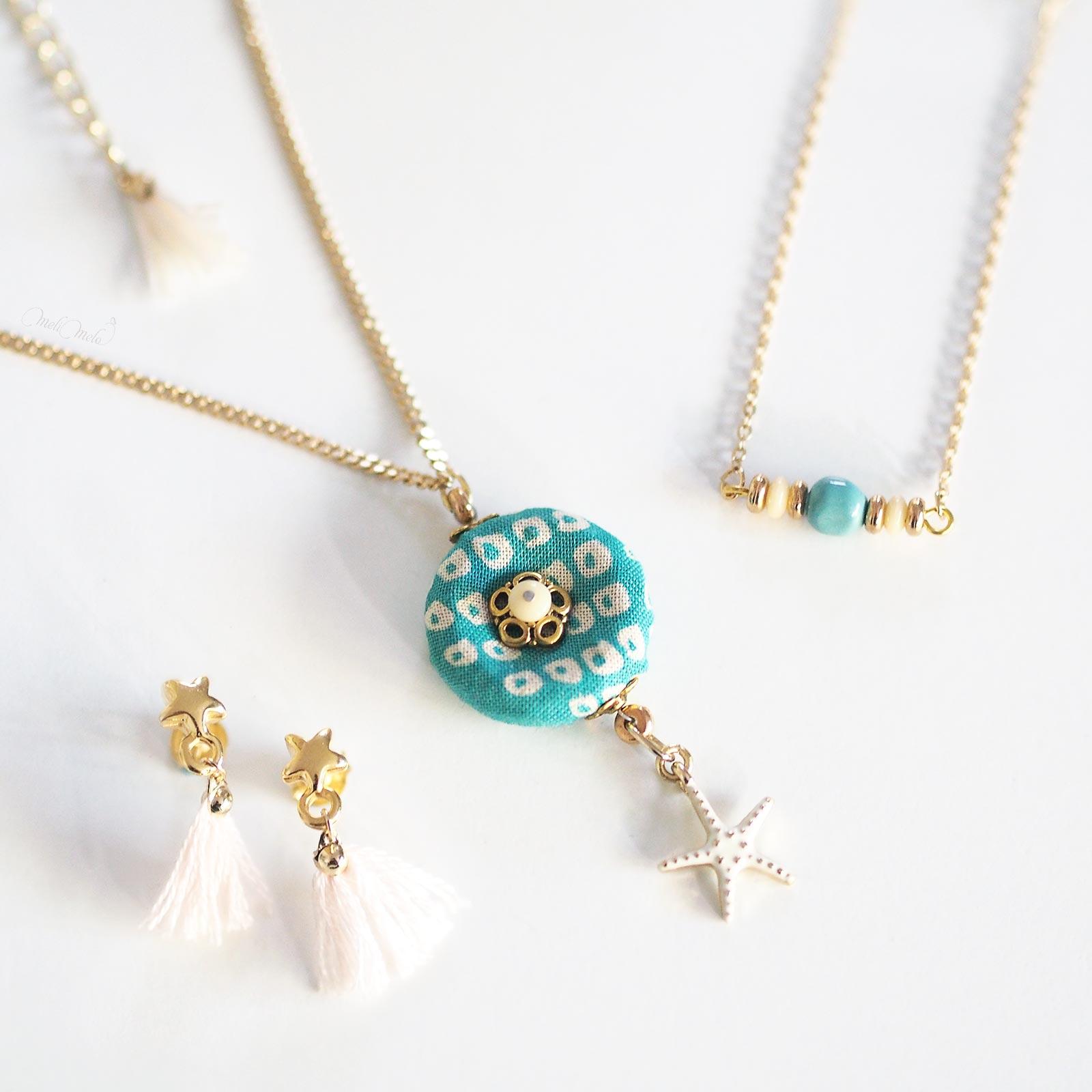 bijoux étoile de mer pompons or nacrée Swarovski Shakuyaku argent laboutiquedemelimelo
