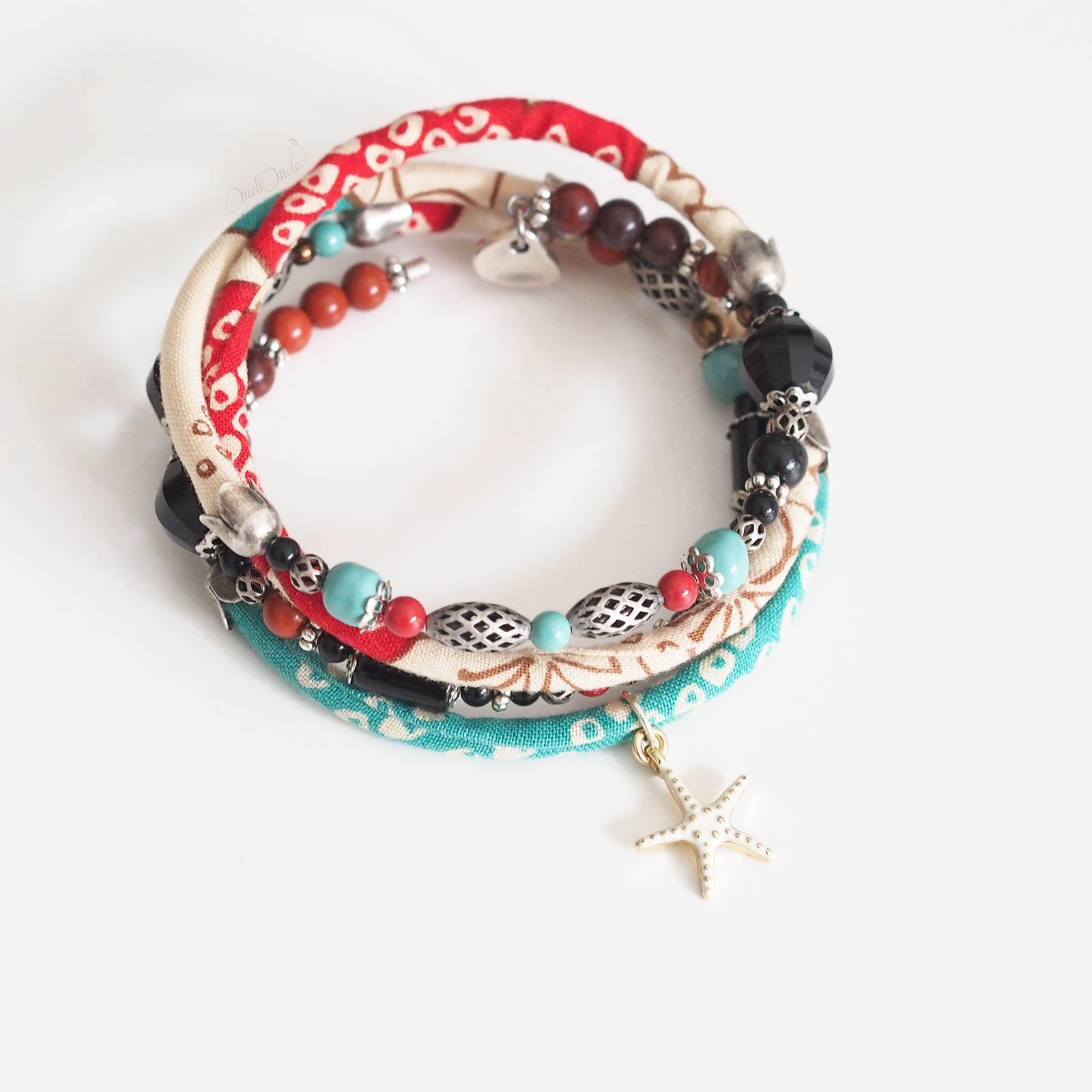 bracelet Kajou étoile de mer swarovski onyx jaspe preciosa laboutiquedemelimelo