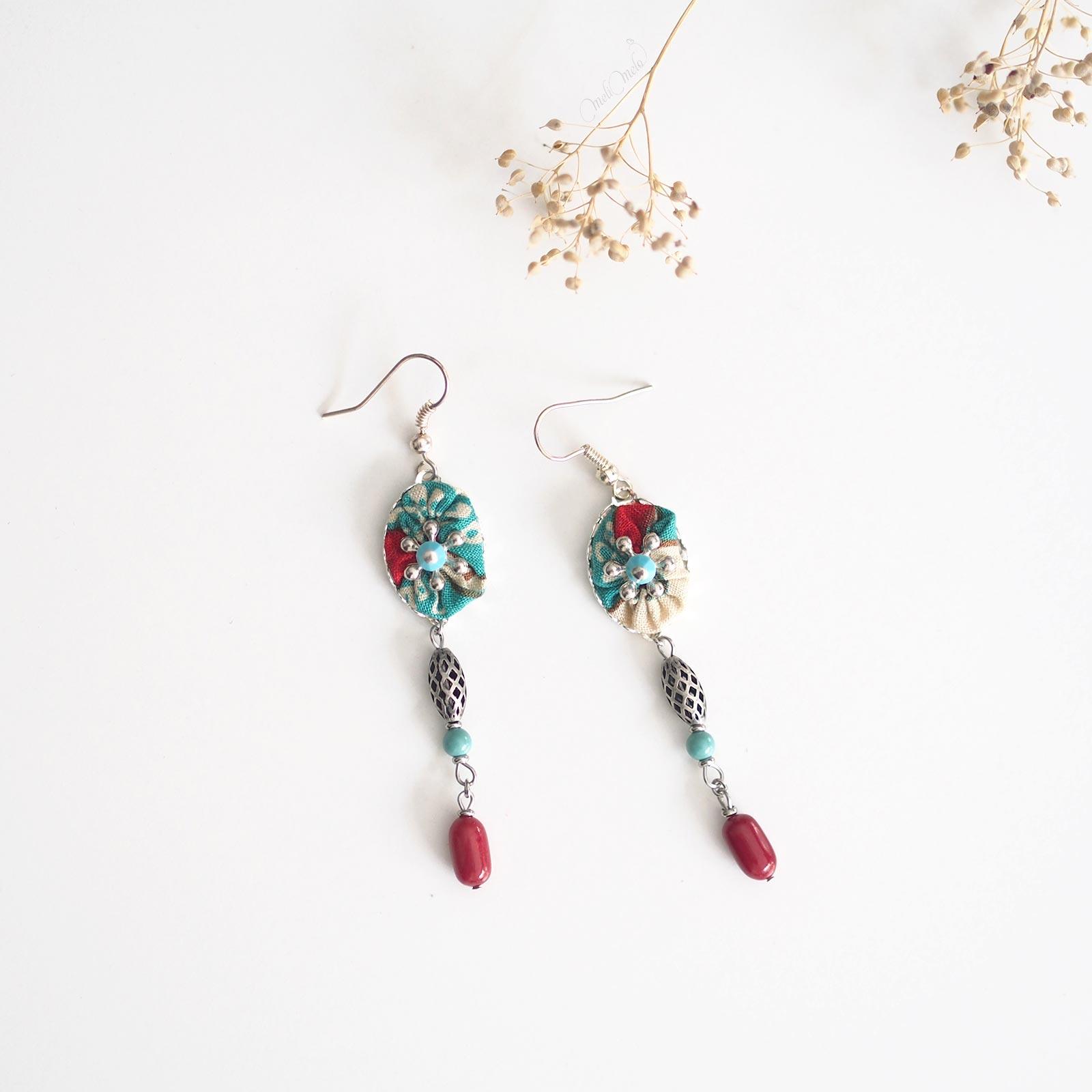 pendants oreilles Shakuyaku jaspe rouge cristal Swarovski argent laboutiquedemelimelo