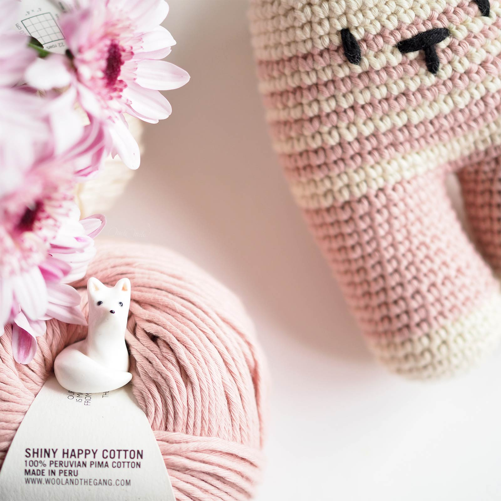 Pink Nude shiny happy cotton wool and the gang renard @paulineeline crochet rabbit lapine conejito lanukas laboutiquedemelimelo