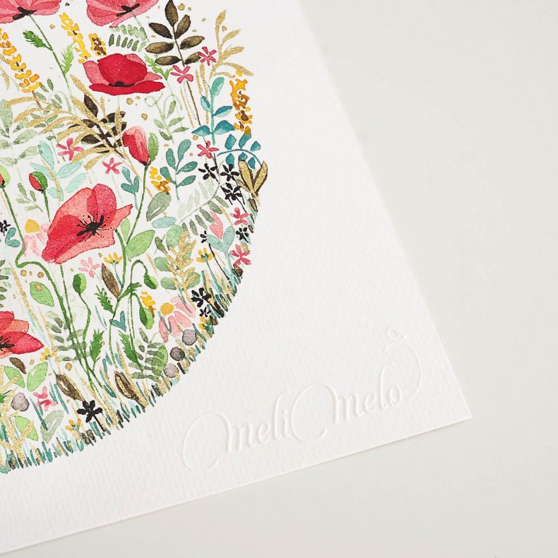signature-relief-aquarelle-coquelicots-herbes-folles-laboutiquedemelimelo