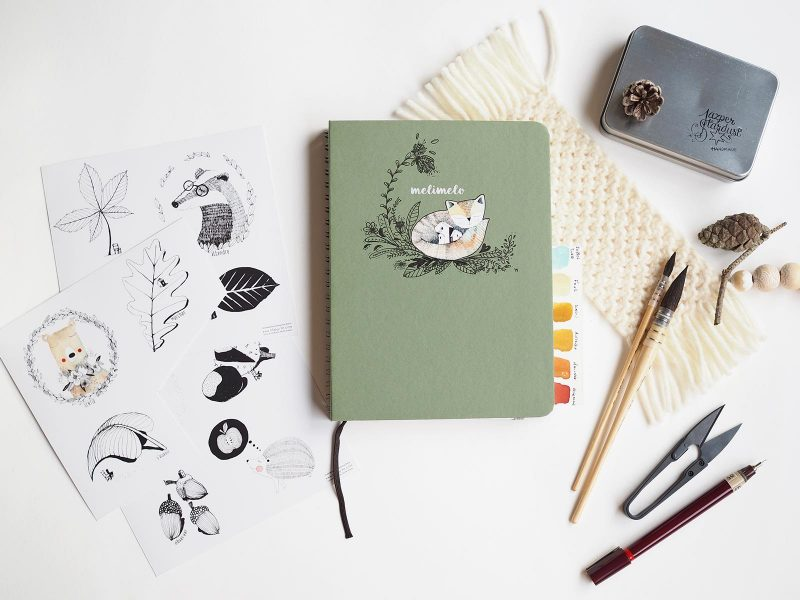 sketchbook mossery A5 customized fox personnalise renard laboutiquedemelimelo