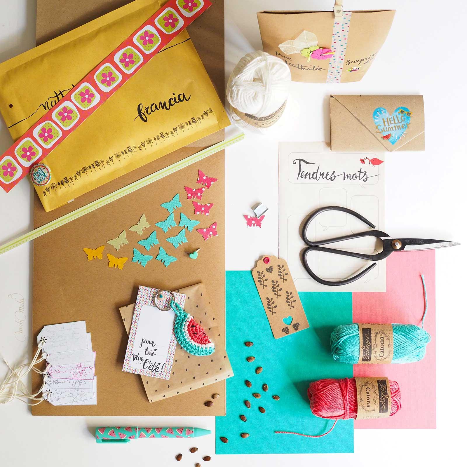 courrier swap snail mail inspiration pastèque watermelon summer Scheepjes catona cotton laboutiquedemelimelo