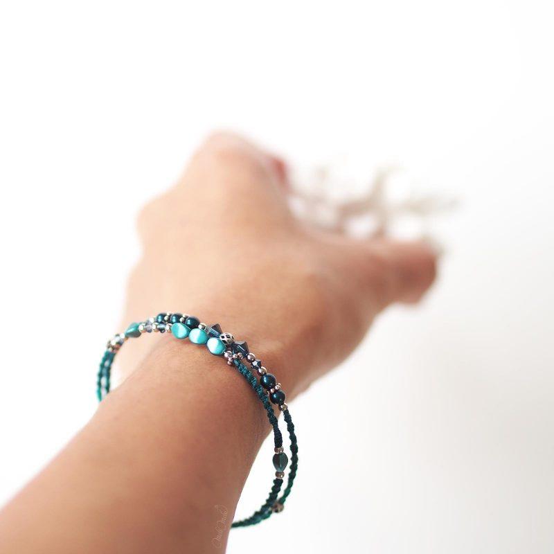 bijoux bohème taille bracelet fin Cristal Swarovski bleu teal turquoise laboutiquedemelimelo