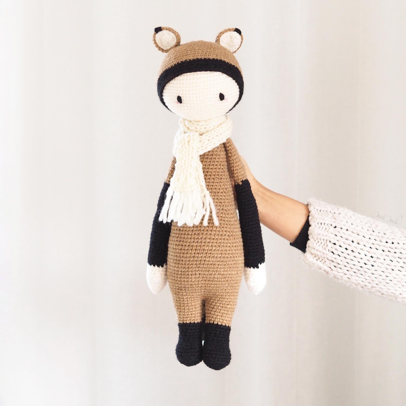 Renard Fibi au crochet doudou XL 100% laine laboutiquedemelimelo