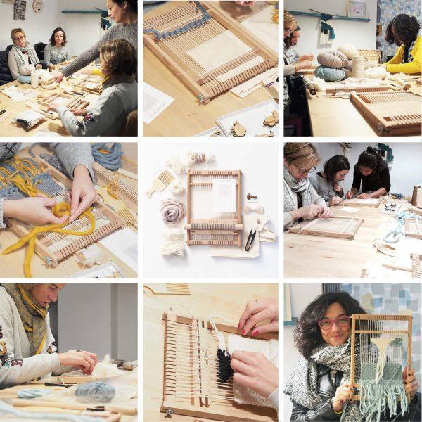 taller creativo de tisaje telares collage Valladolid Mimarinita laboutiquedemelimelo
