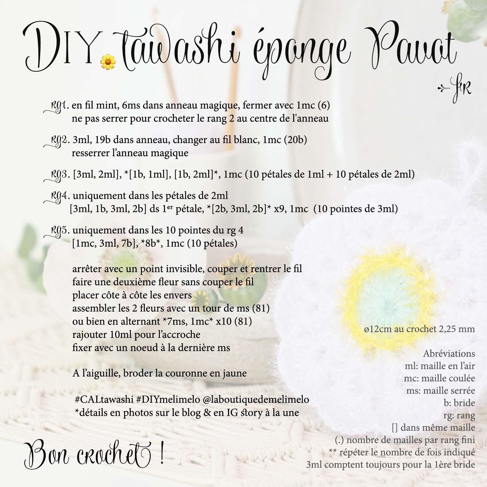 éponge durable tutoriel crochet fleur pavot tawashi Creative Bubble upcycling laboutiquedemelimelo