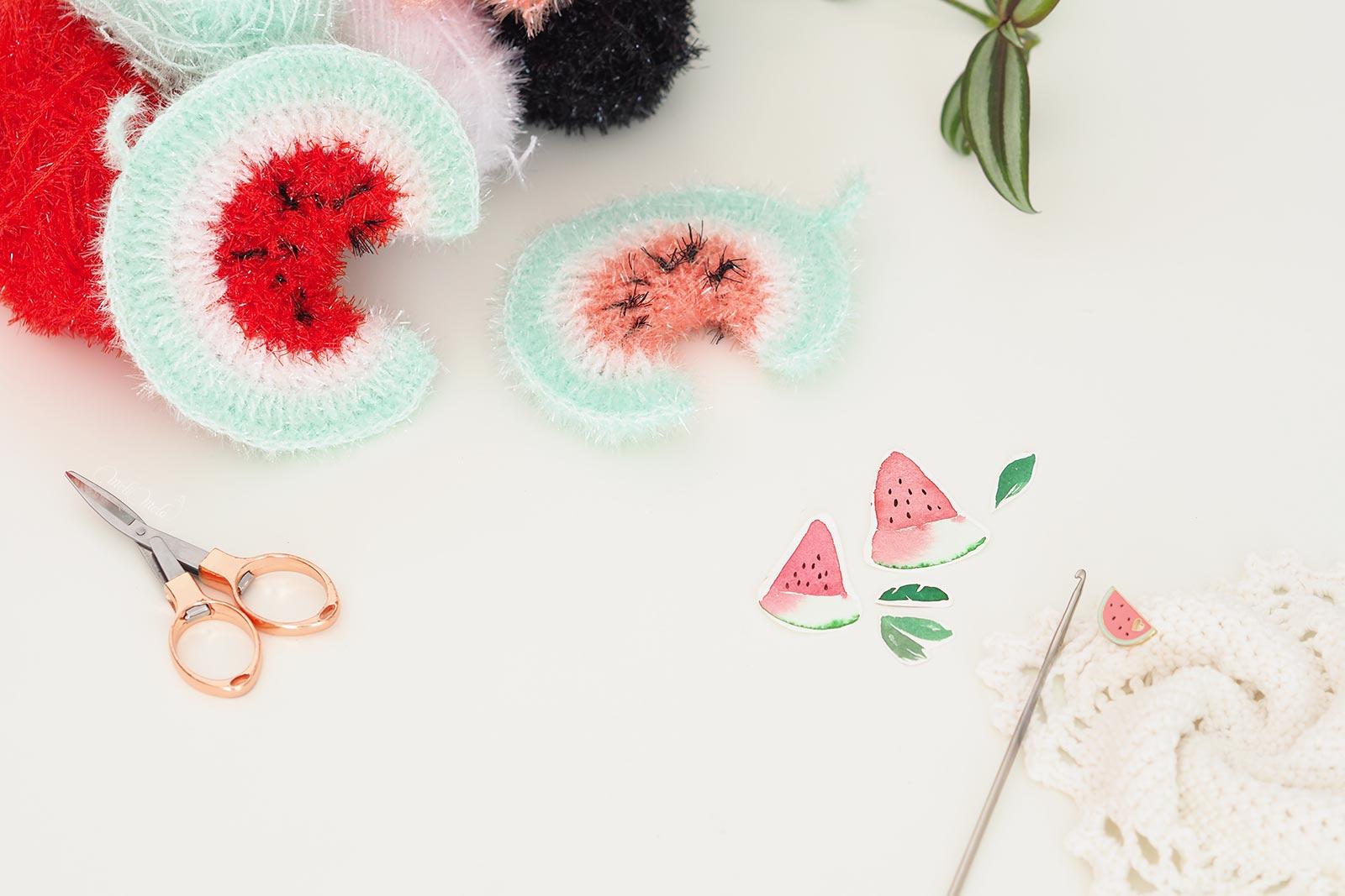 tawashi esponja sandia éponge pastèque scrubber watermelon crochet kit DIY laboutiquedemelimelo