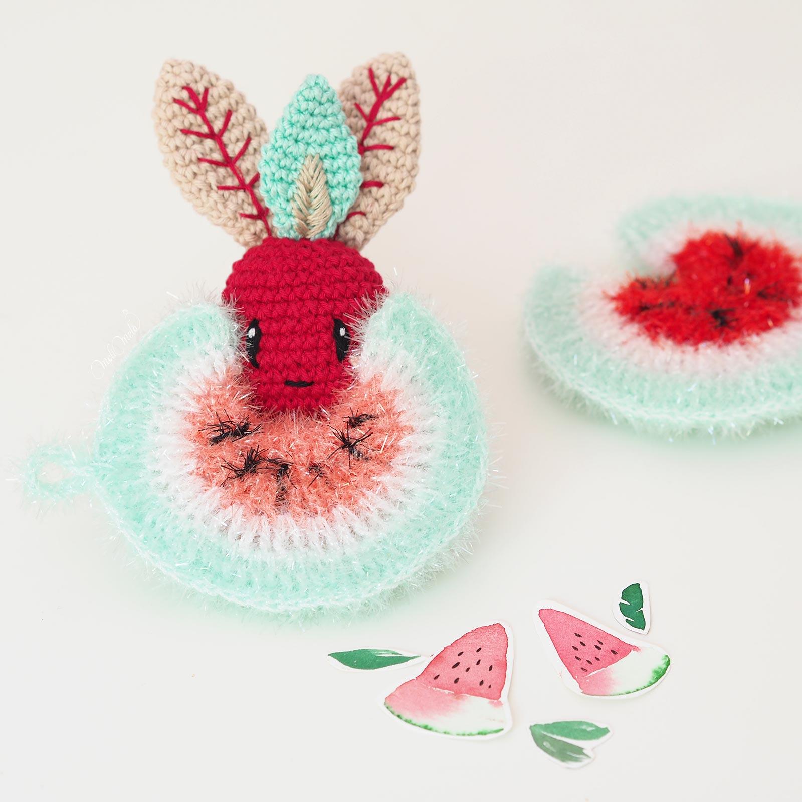 tawashi watermelon light red pastèque rouge clair sandia crochet DIY scrubber éponge mandragore laboutiquedemelimelo