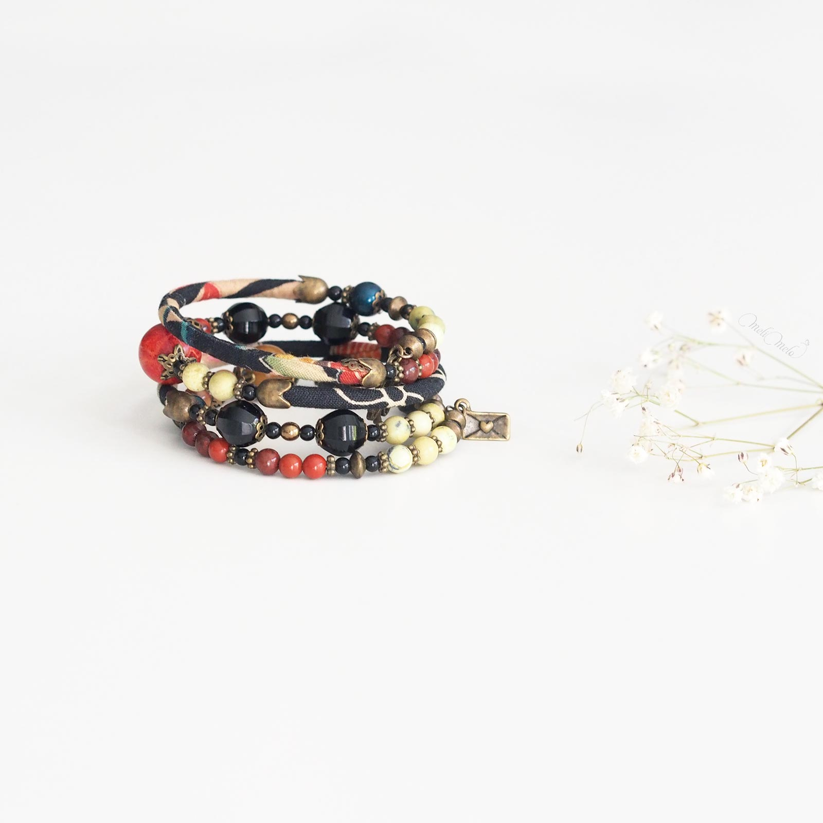 bijoux Temari bracelet corail jaspe crristal swarovski nacré tissu japonais laboutiquedemelimelo