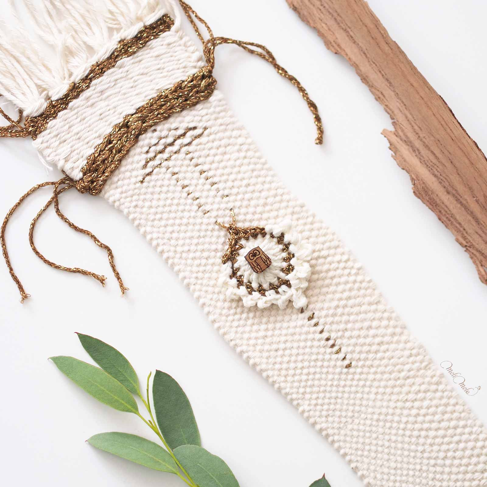 tissage coton or chouette eucalyptus peacock crochet laboutiquedemelimelo