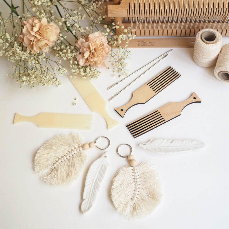 tissage défi plumes céramique macramé peigne hêtre laboutiquedemelimelo
