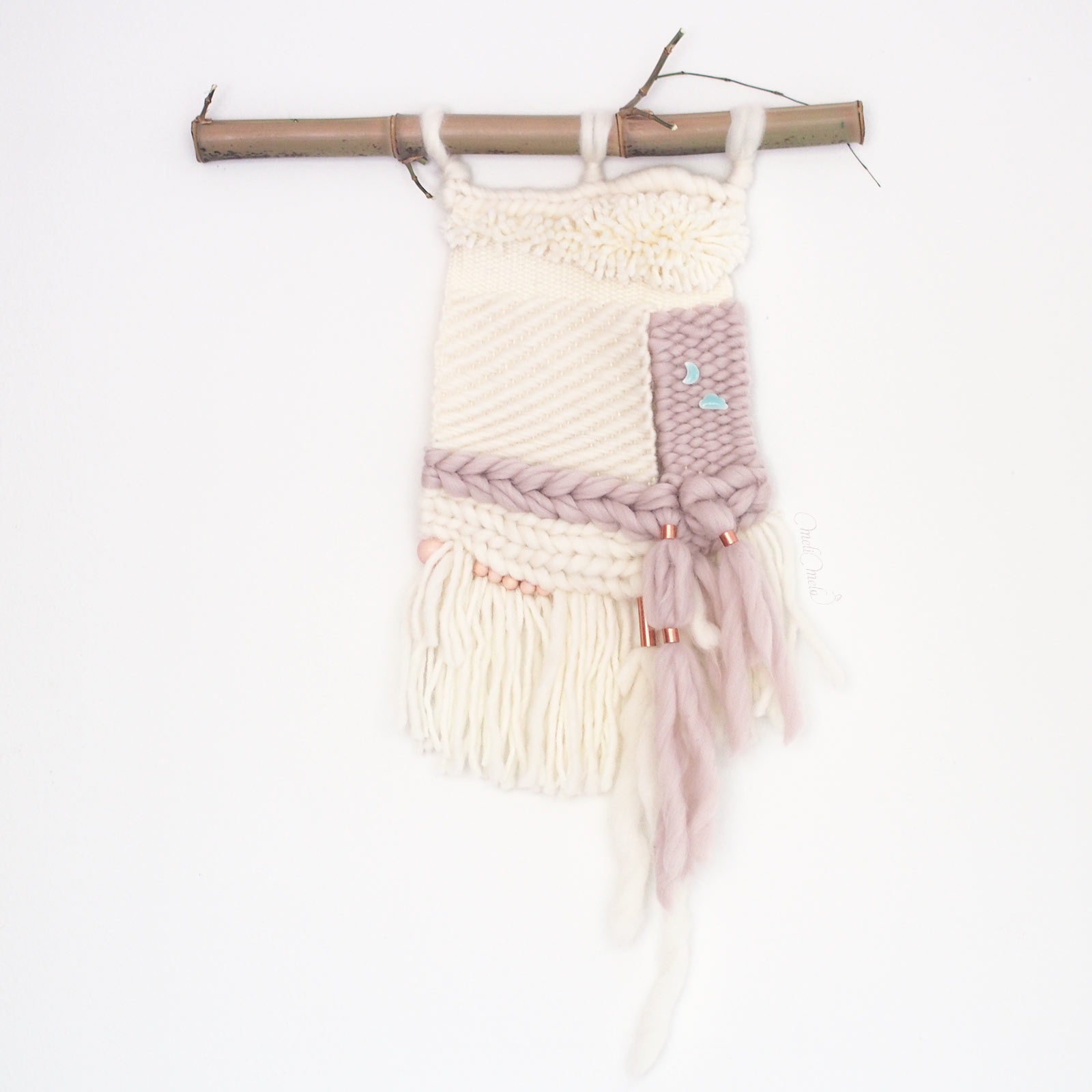 tissage laine cuivre lune nuage mural wool weareknitters laboutiquedemelimelo