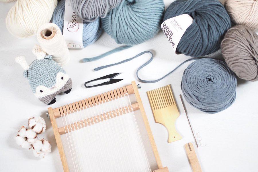 tissage laine Fleur de coton qutuun bleu Lalylala Heinz cerf crochet wool woolandthegang trapillo rosascrafts laboutiquedemelimelo