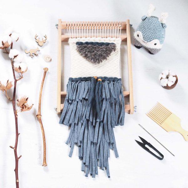 tissage laine Fleur de coton qutuun blue wool woolandthegang weareknitters trapillo rosascrafts funemstudio loom laboutiquedemelimelo