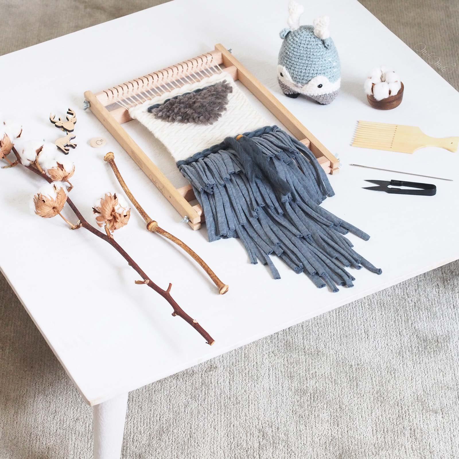 tissage laine Fleur de coton qutuun blue preston table hawkeandthorn wool woolandthegang weareknitters trapillo rosascrafts laboutiquedemelimelo