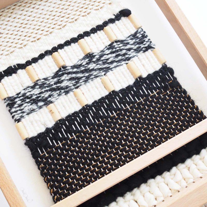 tissage en laine Reflets d'or modèle DIY à l'arrière laboutiquedemelimelo