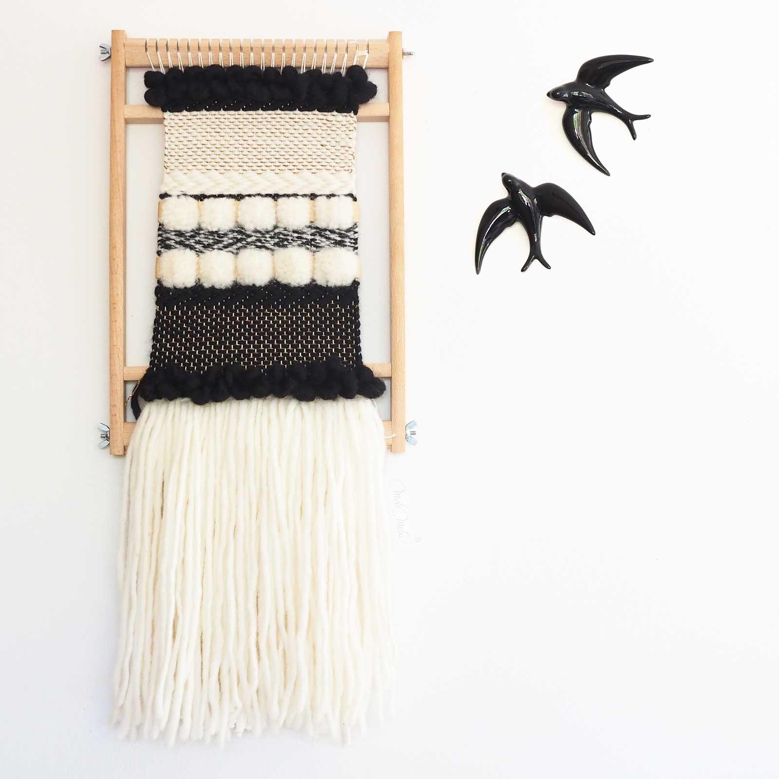 tissage en laine Reflets d'or modèle DIY on the loom laboutiquedemelimelo