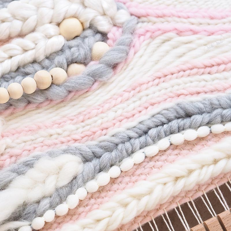 tissage laine Sweetpoom création handweaving wall hanging Funem Studio Laines Plassard We Are Knitters laboutiquedemelimelo