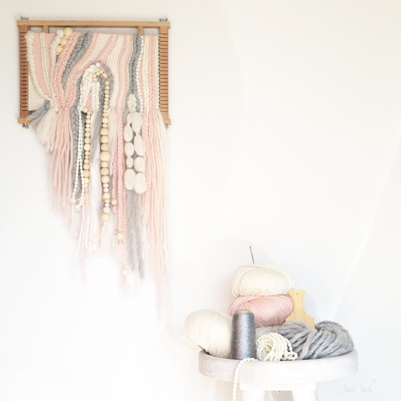 tissage laine Sweetpoom création handweaving wall hanging Funem Studio Laines Plassard We Are Knitters String Harvest laboutiquedemelimelo