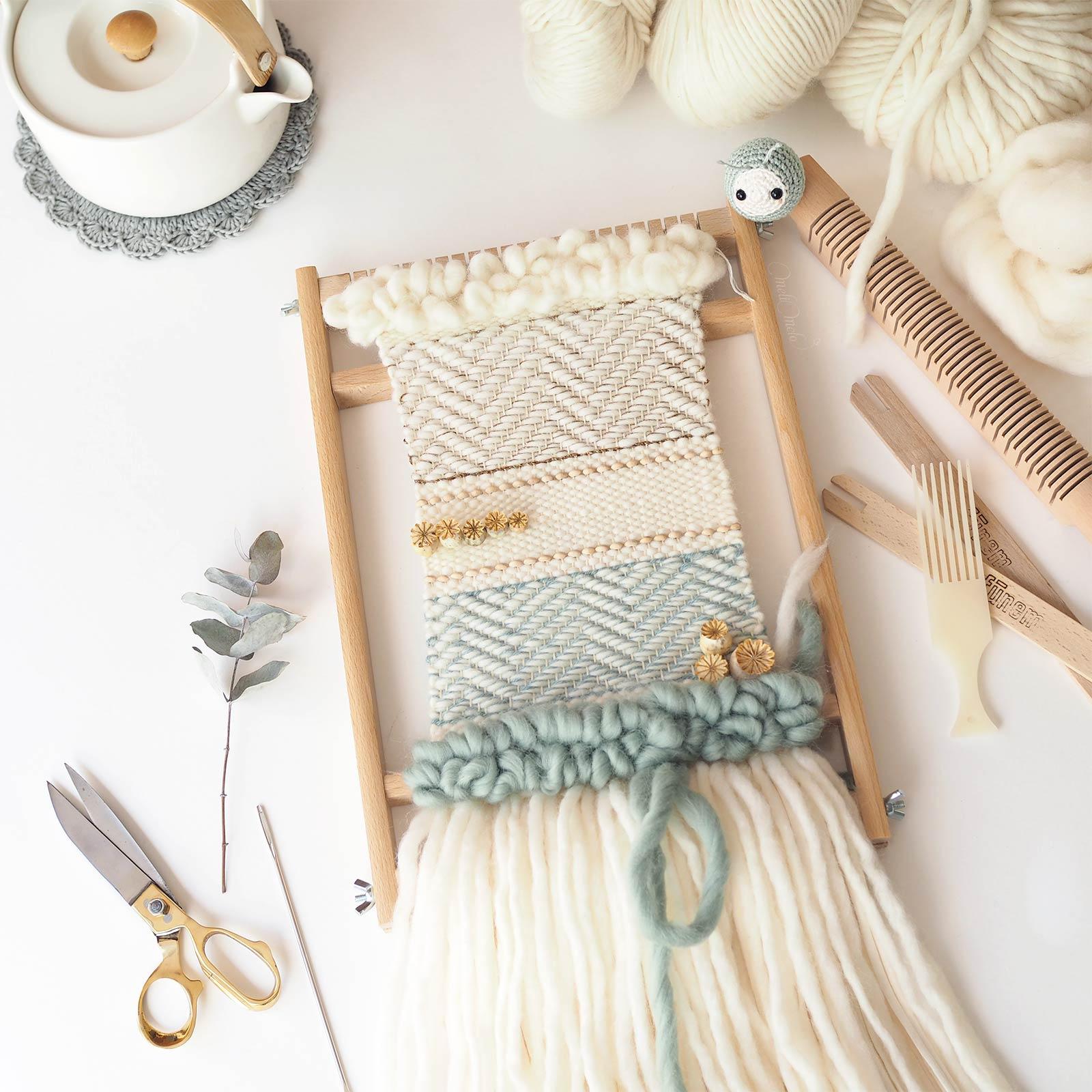 tissage pavots DIYmelimelo kit handweaving #DefiTissage1 wearekniters woolandthegang laboutiquedemelimelo
