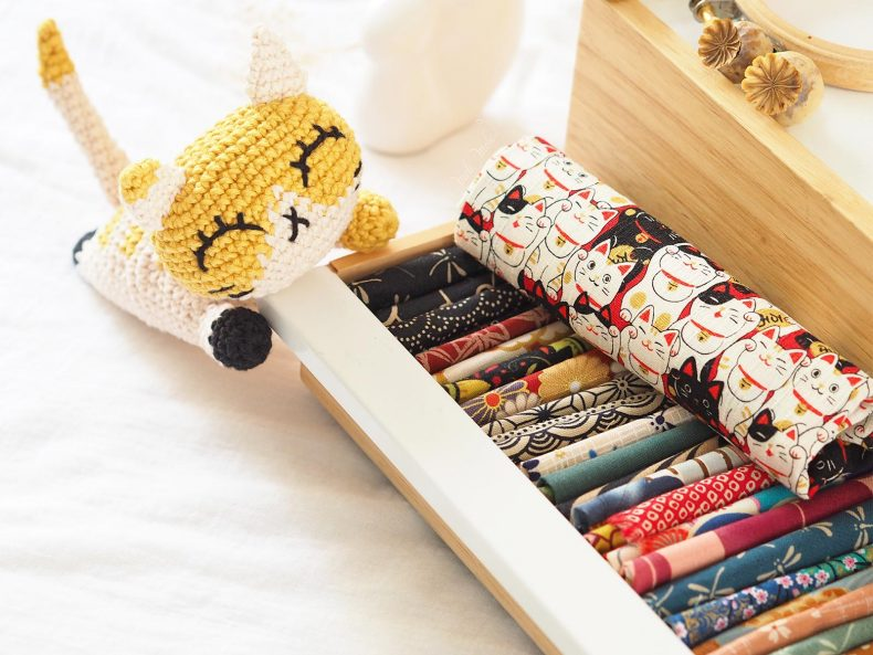 tissu japonais chat chou amigurumi pocket pal ricorumi laboutiquedemelimelo