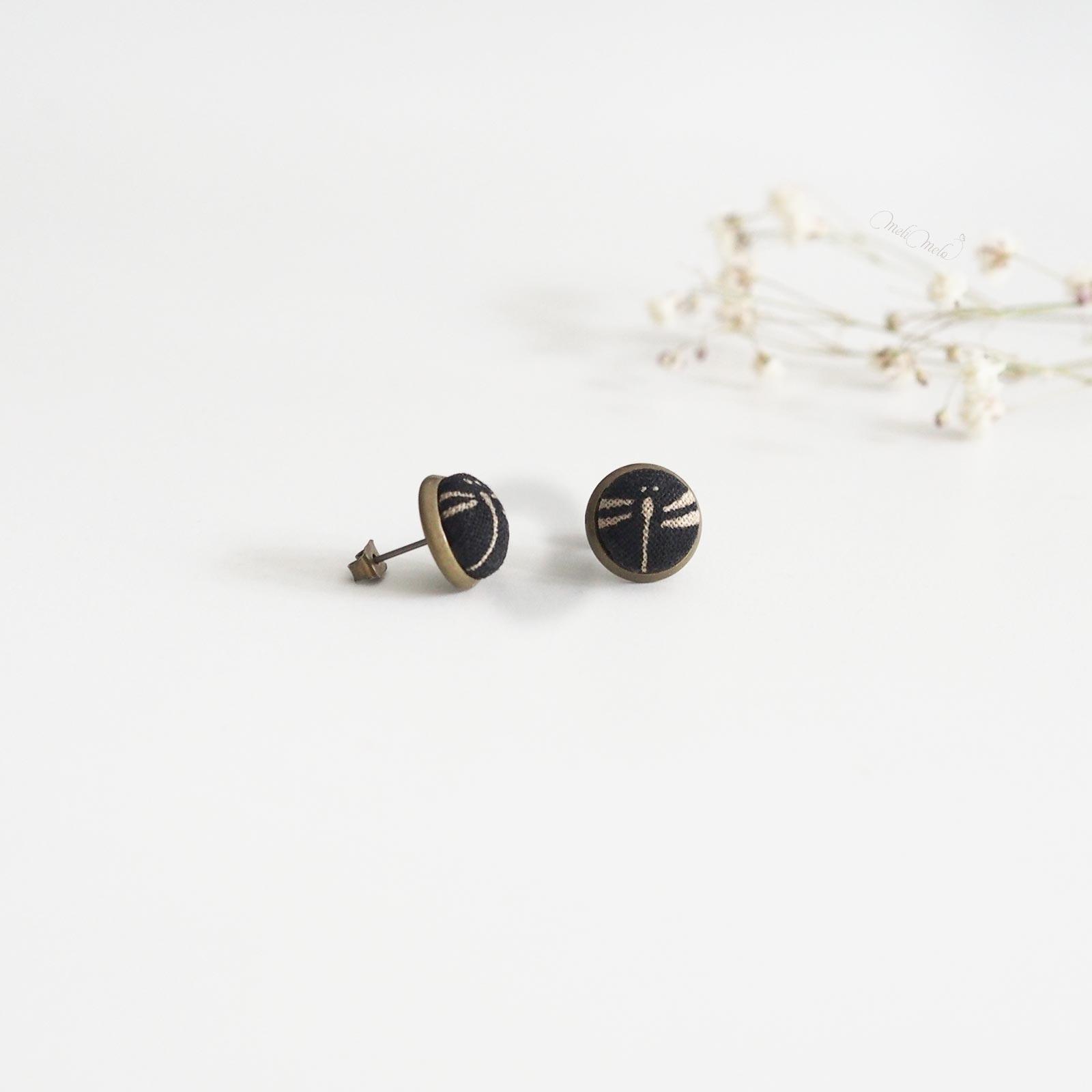 puces oreilles tonbo black libellule noir tissu japonais laboutiquedemelimelo