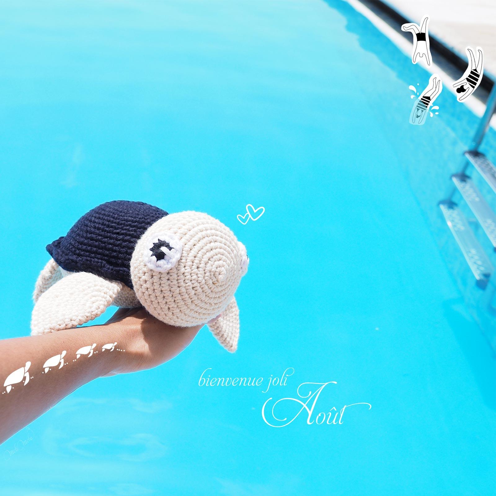 tortue piscine été bleu crochet bienvenue août summer woolandthegang laboutiquedemelimelo
