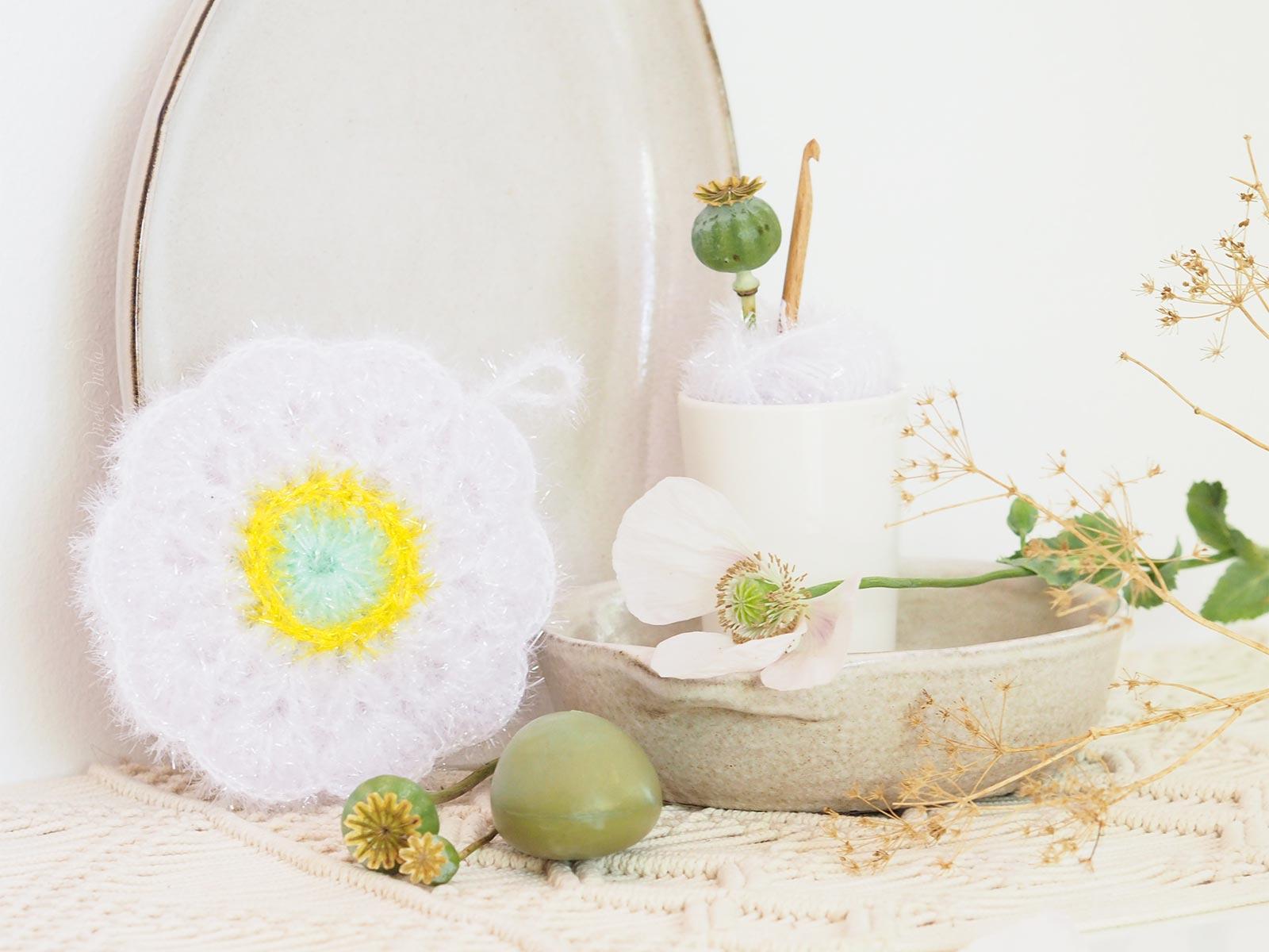 tutoriel éponge durable fleur pavot crochet tawashi creative bubble upcycling laboutiquedemelimelo