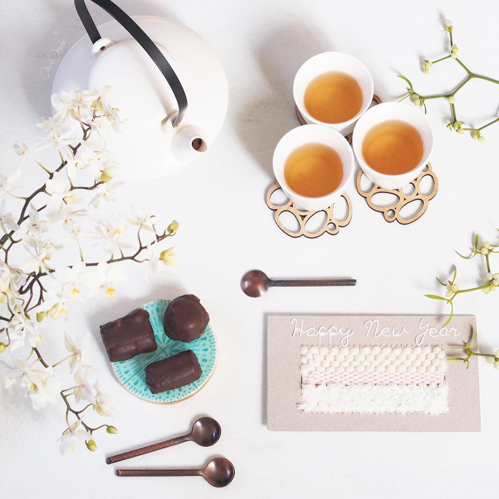 voeux nouvelle année 2017 tissage orchidée thé chocolat laboutiquedemelimelo
