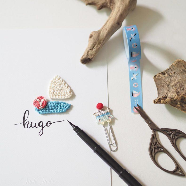 Affiche calligraphiée voilier marin perles Miyuki crochet Hugo La Boutique de MeliMelo