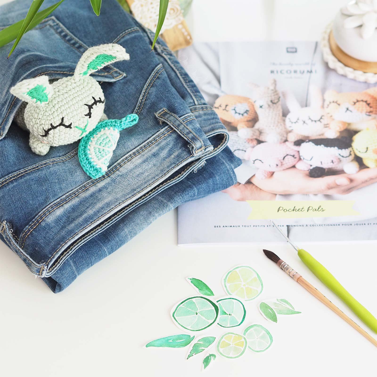 watercolor lime crochet pocket pals rabbit lapin ricorumi laboutiquedemelimelo