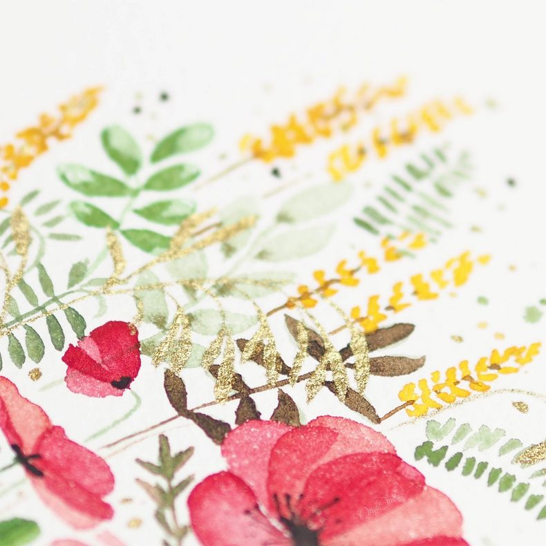 watercolor-poppies-ink-gold-winsor-newton-laboutiquedemelimelo